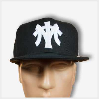 MT Black Snapback (White) Front View 420 Mad Toto Apparel
